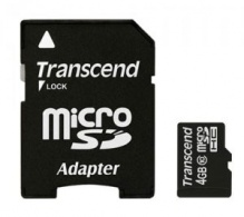 Флеш карта microSDHC 4Gb class10 + adapter Transcend (TS4GUSDHC10)