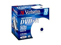 Диск DVD+R Verbatim 4.7Gb 16x Jewel Case Printable (10шт) 43508