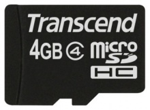 Флеш карта microSDHC 4Gb Class4 Transcend TS4GUSDHC4 + adapter