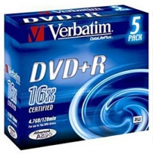 Диск DVD+R Verbatim 4.7Gb 16x Color Slim (5шт) 43556