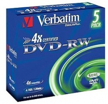Диск DVD-RW Verbatim 4.7Gb 4x Jewel Case (5шт) 43285