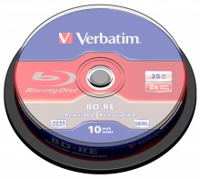 Диск BD-RE Verbatim 25Gb 2x Cake Box (10шт) (43694)