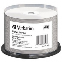 Диск CD-R Verbatim 700Mb 52x DL+ White Wide Thermal Printable (50шт) (43756)