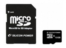 Флеш карта microSDHC 16Gb Class10 Silicon Power SP016GBSTH010V10-SP + adapter