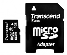 Флеш карта microSDHC 4Gb Class6 Transcend TS4GUSDHC6 + adapter