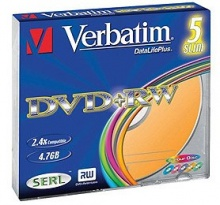 Диск DVD+RW Verbatim 4,7Gb 4x Slim Case Color (5шт) 43297