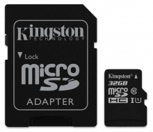 Флеш карта microSDHC 32Gb Class10 Kingston SDC10G2/32GB + adapter