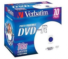 Диск DVD-R Verbatim 4.7Gb 16x Jewel Case Printable (10шт) 43521